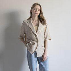 WT37 linen half jacket beige