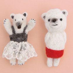 하마나카 양모펠트 개미핥기와 북극곰 브로치 핀 DIY 키트
