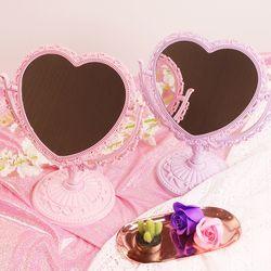 핑크 하트 스탠드 거울 2color