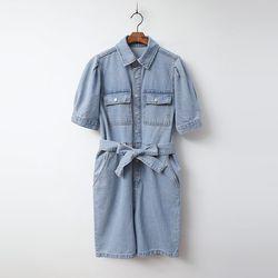 Puff Denim Shorts Jumpsuit