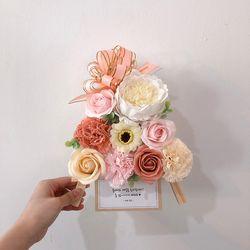 코랄핑크 향기로운 비누꽃 미니화환