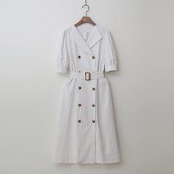 Linen Trench Puff Dress