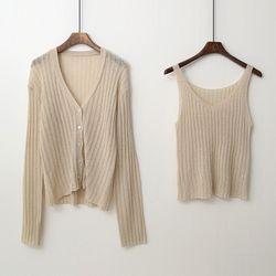 [Set] Sleeveless Knit   Cardigan