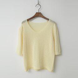 Sophia V-Neck Puff Knit