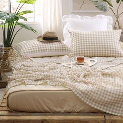 인디체크 시어서커 여름 홑이불 QK 침대패드세트