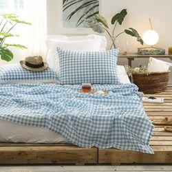 인디체크 시어서커 여름 홑이불 SSS 침대패드세트