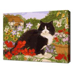 [명화그리기]4050 정원 붉은꽃 고양이 27색 정물 풍경화
