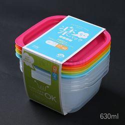 일본 4색 락싱팩 630ml (4P세트) - 정사각