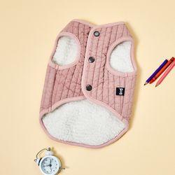 펫본) 줄누빔 양털조끼 핑크 L