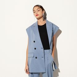 LINEN TAILORED VEST BLUE