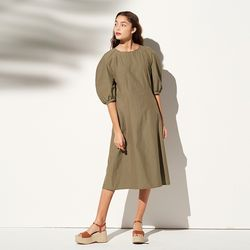 PUFF SLEEVE LONG ONE-PIECE KHAKI