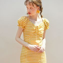 Ribbon Point Midi Dress Yellow
