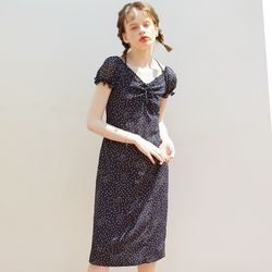 Ribbon Point Midi Dress Navy