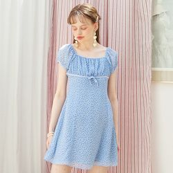 Chiffon Shirring Mini Dress Blue