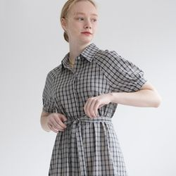 ANNE CHECK SHIRT OPS (NAVY)