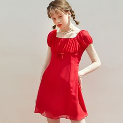 Chiffon Shirring Mini Dress Red