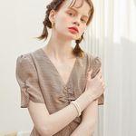 Midi Shirring Check Dress