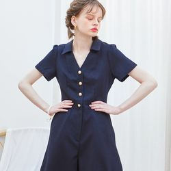 V-neck Shot Jumpsuit Navy