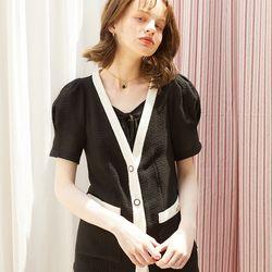 Puff Shoulder Linen Jacket Black
