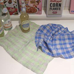 bold check linen kitchen cloth [ 2 color ]