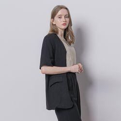W13 linen half setup jacket black