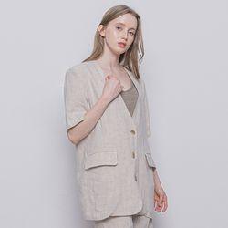W13 linen half setup jacket beige