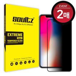 솔츠 아이폰 X 사생활보호 강화유리 액정필름 2매