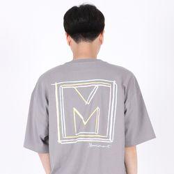 (UNISEX)Drawing Square T-shirt(GREY)
