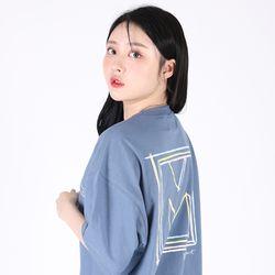 (UNISEX)Drawing Square T-shirt(SOFT BLUE)