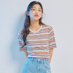 컬러 스트라이프 반팔 티셔츠 MIWHWA612C