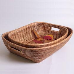 라탄 오벌 와이드 바구니(3size)