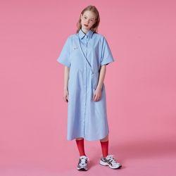 Cross pocket long shirt-light blue
