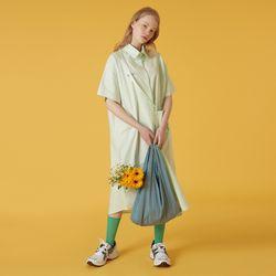 Cross pocket long shirt-light green