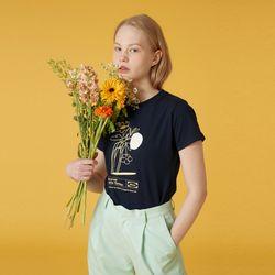 Flower vase tshirt-navy