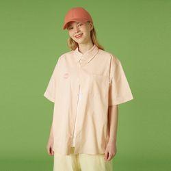Cloud shape patch shirt-orange