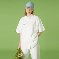 Oversize short sleeve shirt-white