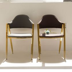 PU 골드 비올렛 체어 인테리어 식탁 의자