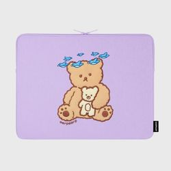 Blue bird bear-purple-15inch notebook pouch(15