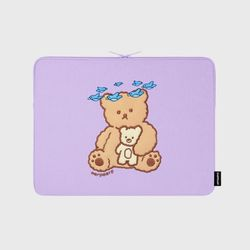 Blue bird bear-purple-13inch notebook pouch(13