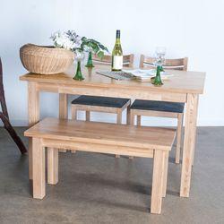 호칸 원목 4인식탁세트 일자 HB-C2B1 (테이블+의자2개+벤치)
