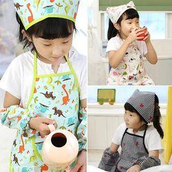 유아동 방수 앞치마세트(앞치마+두건+토시)