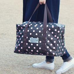 브라운 핑크도트 여행가방