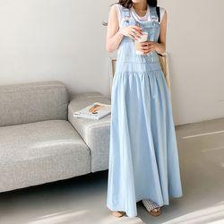 Light Denim Overalls Long Dress