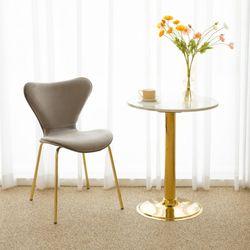 세븐 골드 벨벳 체어 인테리어 식탁 의자