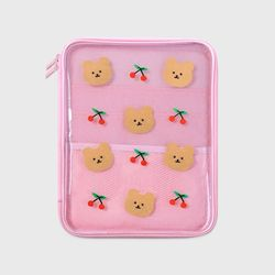 Dot cherry bear-pink(PVC 파우치)