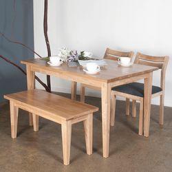 호칸 원목 4인식탁세트 일자사선 HB-C2B1 (테이블+의자2개+벤치)
