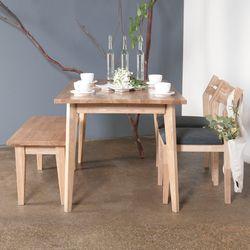 호칸 원목 4인식탁세트 완전사선 HB-C2B1 (테이블+의자2개+벤치)