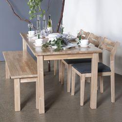 호칸 원목 6인식탁세트 일자 HB-C3B1 (테이블+의자3개+벤치)