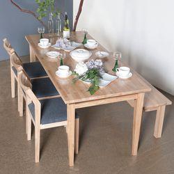 호칸 원목 6인식탁세트 일자사선 HB-C3B1 (테이블+의자3개+벤치)