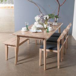 호칸 원목 6인식탁세트 완전사선 HB-C3B1 (테이블+의자3개+벤치)